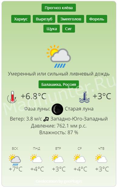 Прогноз клёва и температура водоема