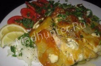 Сом, запеченный в духовке с овощами-min