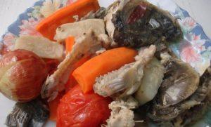 удаляем овощи и рыбу