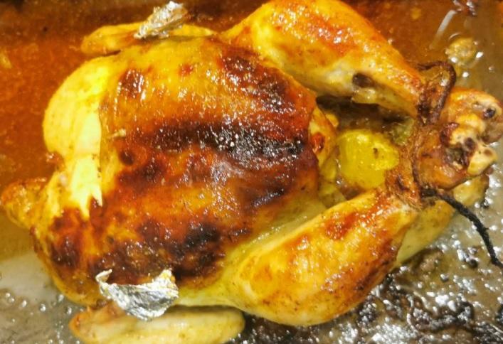 Курочка с мандаринами загорелая и очень сочная!!! курица в духовке курица целиком в духовке